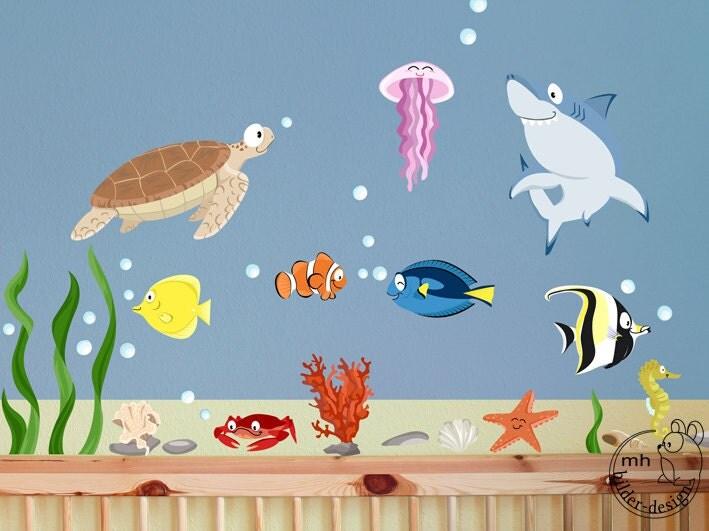 Wandtattoo aquarium xs set kinder wandsticker for Aquarium im kinderzimmer