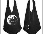 Women's GeoMoon Bodysuit Sacred Geometry One Piece Body Suit Black Moon Phase