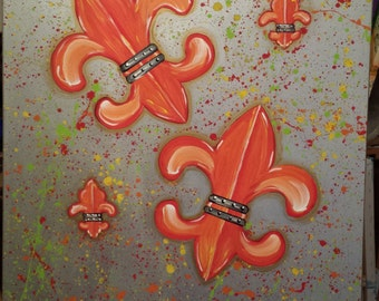 Grand Fleur De Lis - Acrylic on Canvas