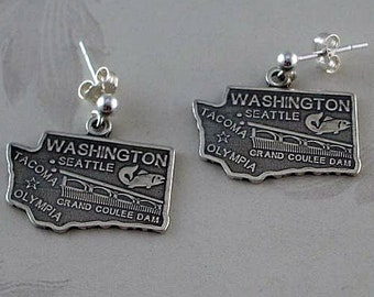 925 Sterling Silver State of Washington Earrings