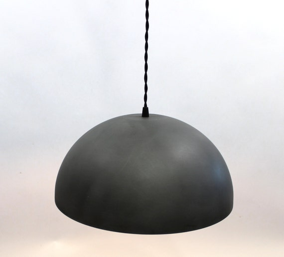 Large zinc dome pendant light