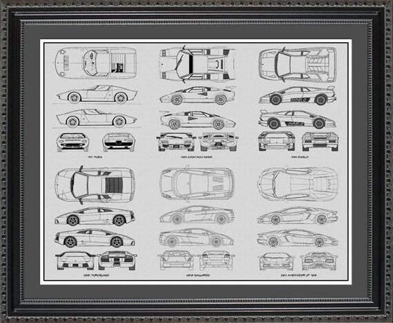Lamborghini blueprint collection drawing art car auto gift like this item malvernweather Choice Image