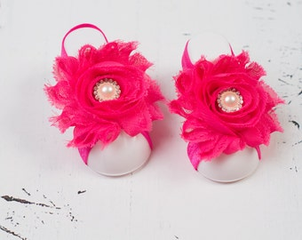 Barefoot Sandals, Hot Pink Baby Barefoot Sandals, Baby Shoes, Baby Toeless Sandals, Baby Sandals, Newborn Toe Blooms, Baby Shoes