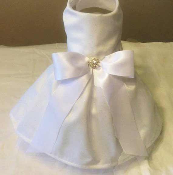White Satin Glitter Formal Dog Dress With Tulle Underlay