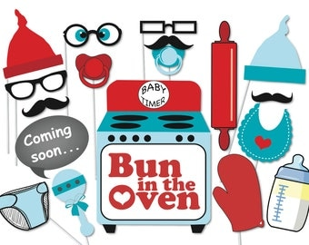 Bun in the oven Baby Shower Photobooth Party Props Set - 16 Piece PRINTABLE - Retro, Boy, Bun in the oven, Game, Photo Booth Props