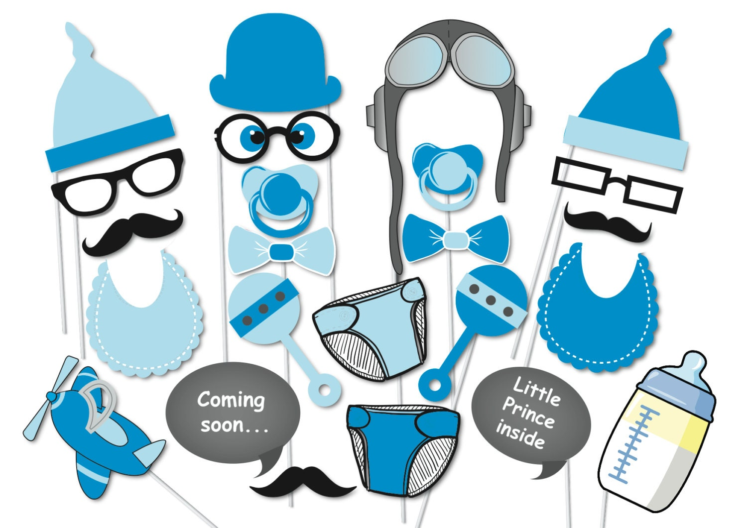 boy baby shower photobooth party props set 24 piece
