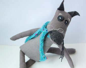 Made to order Handmade wolf, folk, eco friendly, ooak, cotton toy, grey, black, turquoise, art doll, stuffed animal, perfect small gift