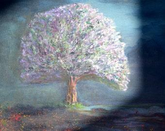 Lavender  Before Sunrise , original , signed acrylic painting