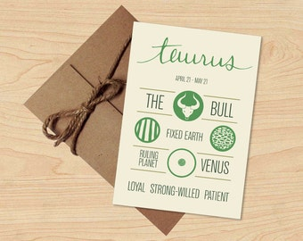 Summer Sale! Taurus Card! Astrological Sun Sign, Zodiac Design. Stationery, Birthday Gift. Envelope included.