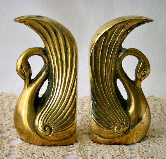 vintage solid brass etched swan bookends o lee made in korea