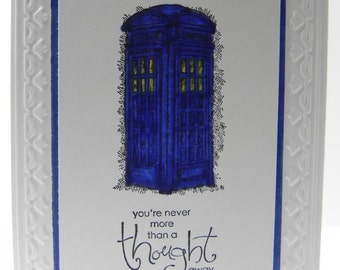 Tardis Dr. Who Inspired Card (Birthday, Father's Day, Mother's Day, Thank you, Anniversary, Love, Congratz)