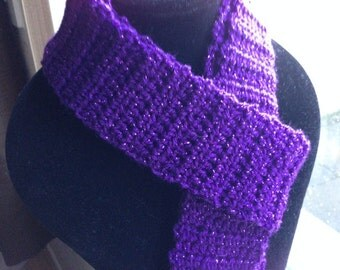 Purple Sparkly Scarf, Glittery Scarf, Crocheted Scarf, Purple Neck Warmer, Sparkly Neck Warmer, Sparkly Accessories, Purple Accessories