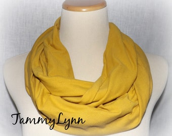 Mustard Yellow Solid Cotton Spandex Infinity Scarf Stretch Knit Soft Scarf Women's Accessories
