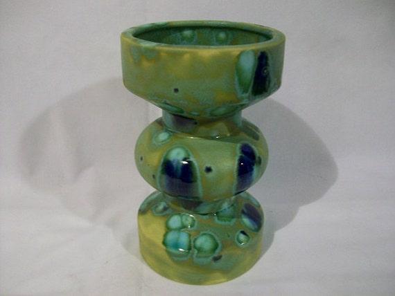 Mid Century Modern Green Blue Drip Glazed Ceramic Pottery Vase Signed