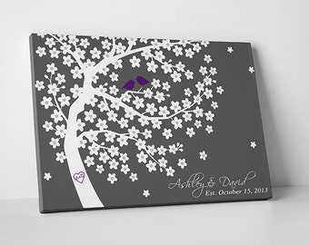 """Custom Wedding Guest Book // Wedding Guest Book Ideas // Wedding Tree Guestbook // Gallery Wrapped Canvas 75-200 Signatures // 20""""x30"""""""