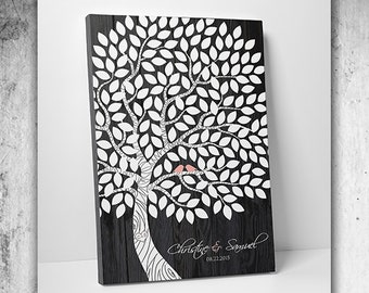Wedding Guest Book Alternative - The Dream Oak - A Victoria Rossi Design - 100-300 Guest Sign In - Canvas or Print - 20x30 Inches