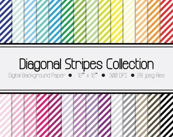 Diagonal Stripes Digital Paper Collection,Scrapbook Paper