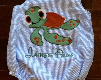Disney inspired Finding Nemo Squirt personalized bubble romper in sizes 0-3 month - 24 months