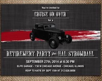 Retirement Party Invitation : Hot Rod, Mechanic, Classic Car Theme