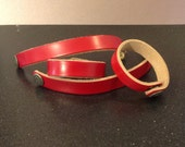 Personalized Red Leather Bracelet
