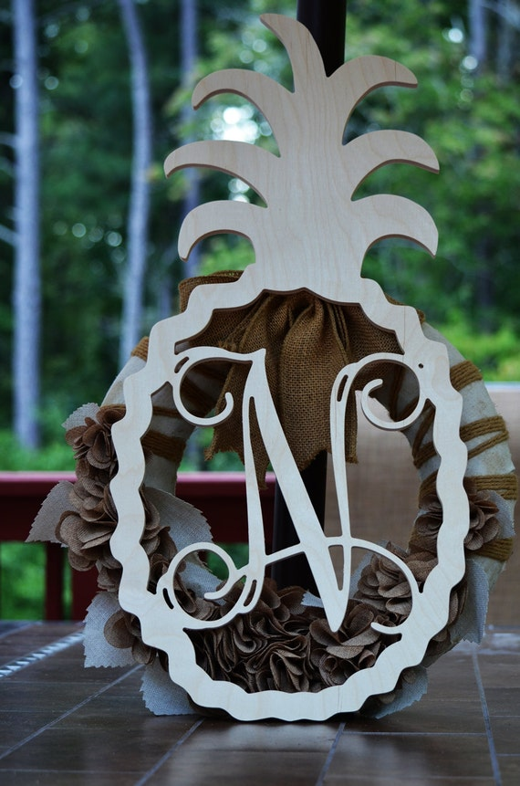 Monogram Door Hanger Pineapple Monogram Welcome Wood Shape