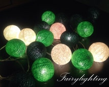 Cotton Ball Lights for home decoration,wedding patio,indoor string lights,bedroom fairy lights,20 pieces , green tone