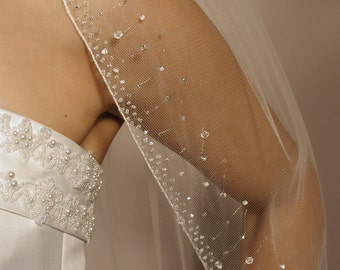 "Beaded veil with glass glass beads. Beaded comes in 25"" past shoulder, elbow length 30"" and fingertip 42""wedding veil."