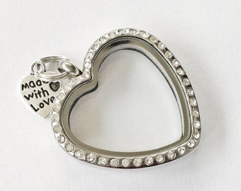 Stainless steel heart Locket with crystals. FREE SHIPPING