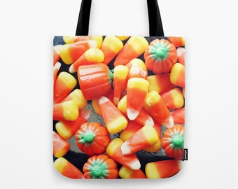 Candy Corn Tote Bag, Halloween Tote Bag, Fall, Autumn, Accessories, Shoulder Bag, Fine Art Photography