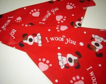 Lovable 'I Woof You' Dog Scarf Over the Collar Dog Bandana