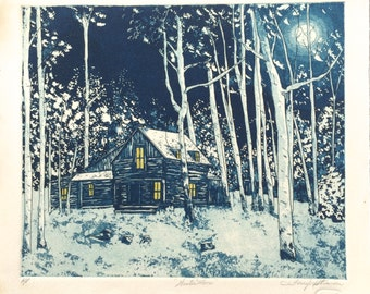 """Fine Art Etching - Winter Moon -  Limited Edition Hand Colored Etching - Image Size 13.5"""" x 12"""""""