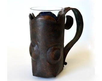 Primitive Copper Mug Irish Coffee or Hot Toddy Glass Hand Made Bohemian Mug