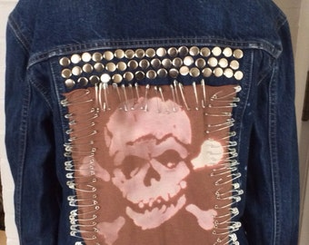 Custom Denim Jacket Studded with Skull Size Xtra Small