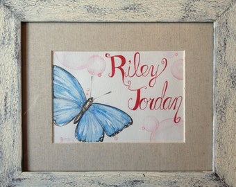Baby Name artwork featuring butterfly and bubbles
