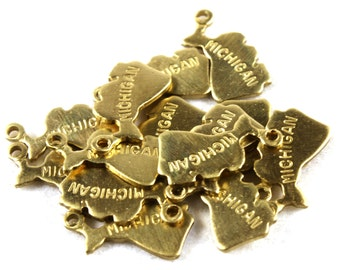 6x Brass Engraved Michigan State Charms - M057-MI