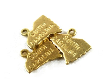 6x Brass Engraved South Carolina State Charms - M057-SC