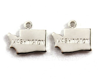 2x Silver Plated Engraved Washington State Charms - M072-WA