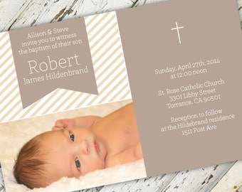 Striped Baptism or Christening Religious Invitation   Print-It-Yourself   Digital Download   Printable   Custom Invitation