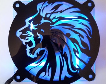 Custom LION HEAD Computer pc Fan Grill Gloss Black Acrylic Cooling Cover Mod