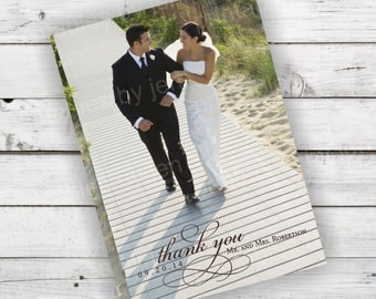 DIY Printable Photo Wedding Thank you Card Currently Shown in Brown