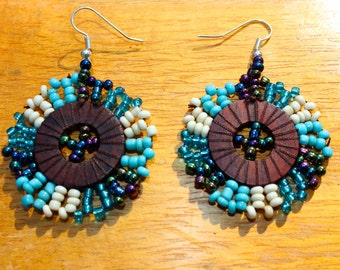 "Colorful Blue Beaded and Wood ""Sunshine"" Earrings"