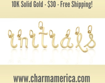 Lower Case Initials, 10k Gold, simple, cute, adorable, everyday jewelry
