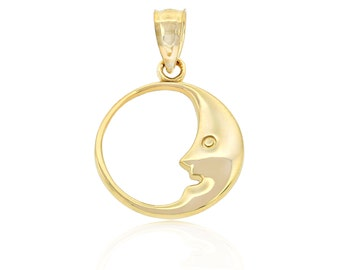 Gold Crescent Moon Charm, 10K Solid Gold, Man On The Moon, Simple, Everyday Jewelry, Charm America, Stylish, Astral, Universe, Unique