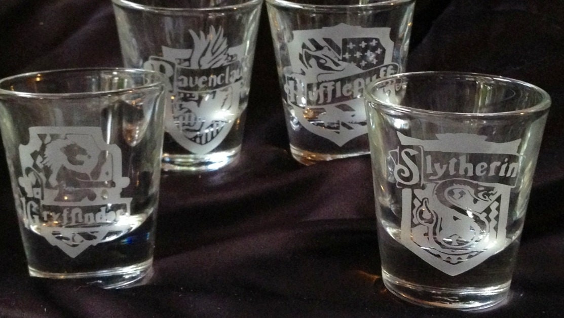 Harry Potter House Crest Inspired Etched Shot Glass Set Of 4