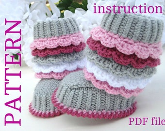 Crochet P A T T E R N Knitting Baby Booties Knitted  Baby Pattern Shoes Crochet Knitted Baby Uggs Patterns Baby Boots ( PDF file )