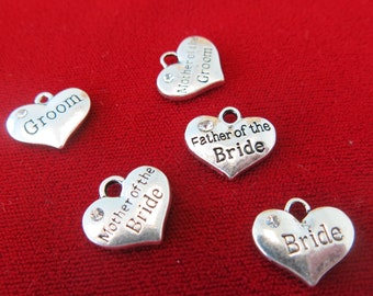 "5pc ""wedding party"" charms in antique silver style (BC242)"