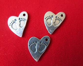"""10pc """"baby feet"""" charms in antique silver style (BC334)"""