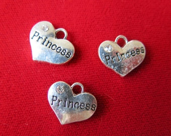 """BULK! 15pc """"Princess"""" charms in antique silver style with rhinestone (BC333B)"""