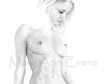 Mary Ann Evans Erotic Female Nude Study (MAEP221) MATURE. Print from original graphite drawing