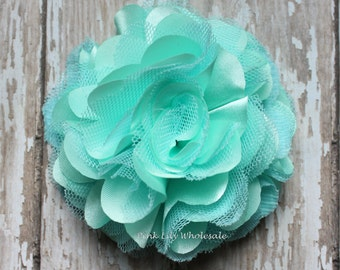 "Set of TWO - 3"" Satin Mesh Flower - Mint - Satin Tulle - Tulle Flower - Satin Flower - Fluffy Flower - Tulle Mesh - DIY"